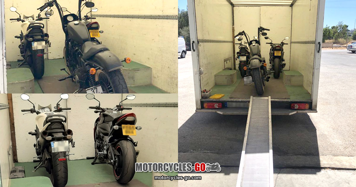 Motorbikes Loaded for Transport from the UK to Spain & Portugal OG01